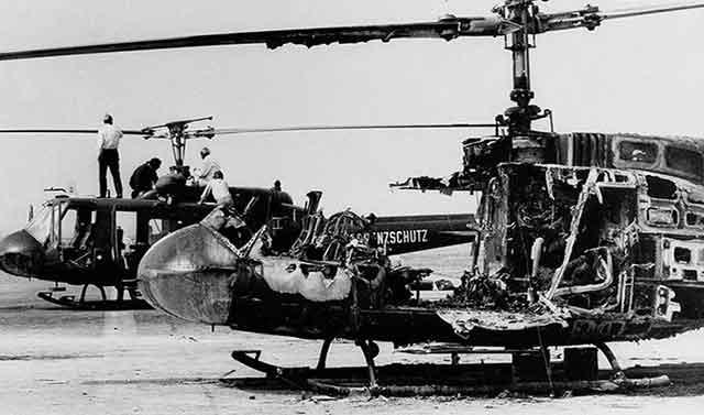 هلیکوپتری که نیروهای فلسطینی به همراه ورزشکاران اسراییلی منفجر کردند